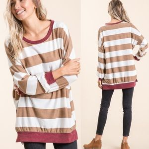 🆕Stripe Dolman Sleeve French Terry Taupe Top!